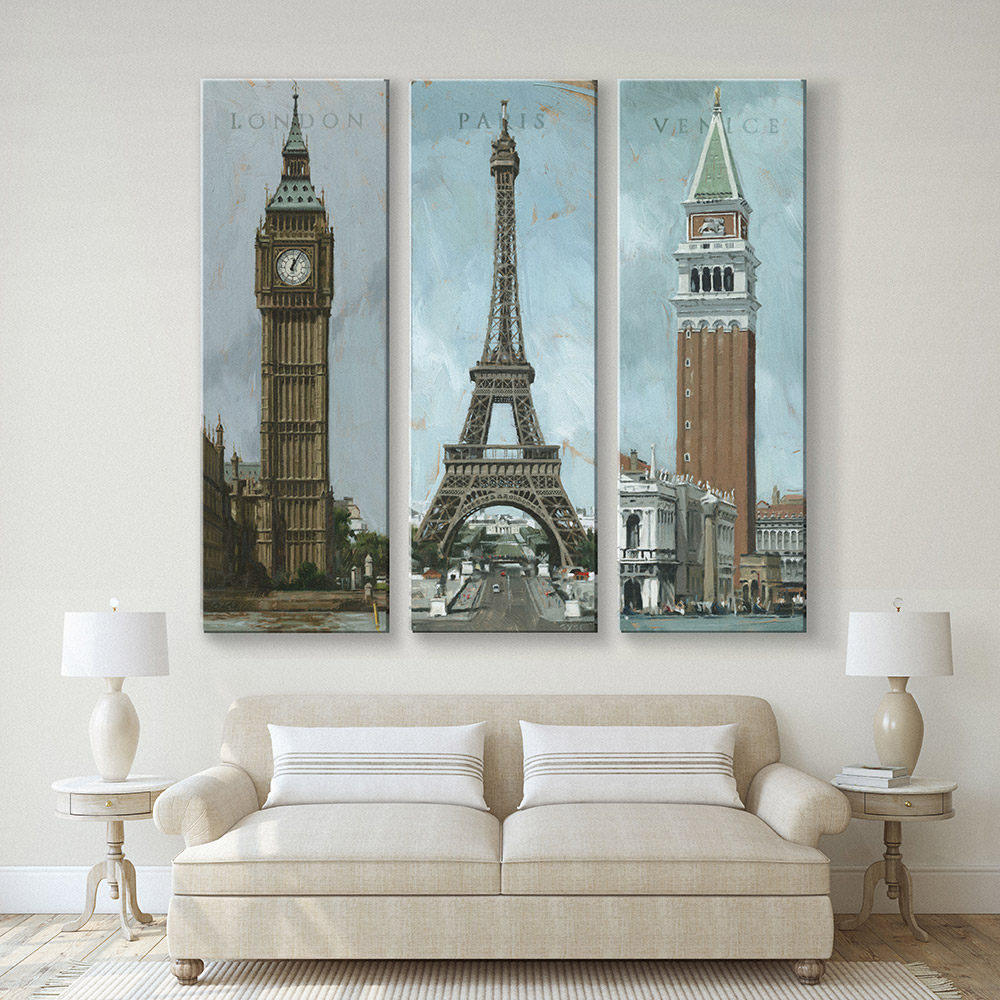 London, Paris, Venice Canvas Print Extra Large
