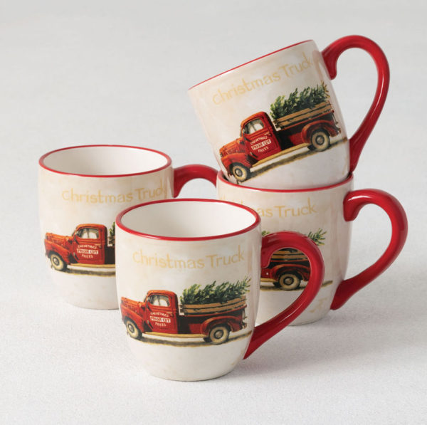 red vintage Christmas truck mugs