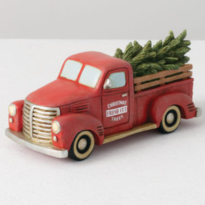 red farmhouse Christmas truck figurine